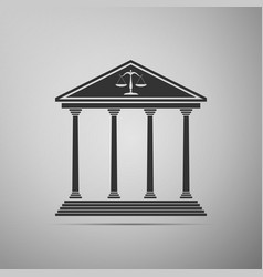 Courthouse icon isolated on grey background vector