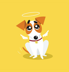 Cute jack russell terrier with angel wings and a vector