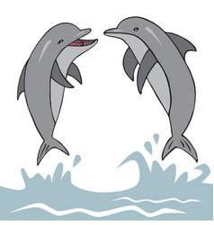 Dolphins jumped out of water vector