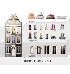 European building elements set vector