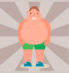 Fat man flat overweight body vector