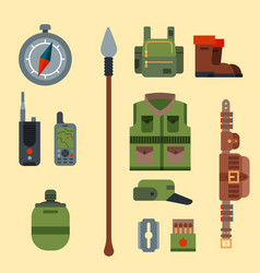 Hunting weapons and symbols design elements flat vector