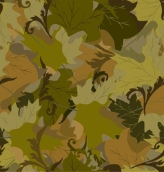 Khaki background with autumn leaves vector