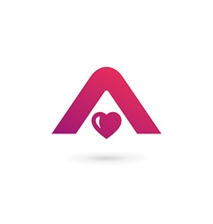 Letter A heart logo icon design template elements vector image