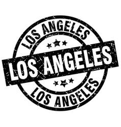 Los angeles black round grunge stamp vector