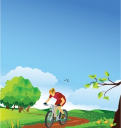 mountain biking vector image