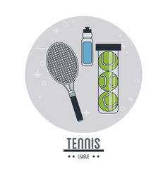 Racket bottle and balls of tennis sport design vector