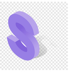 S letter in isometric 3d style with shadow vector