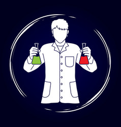Scientist with flask chemical graphic vector
