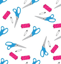 Seamless pattern with scissors pin needle vector image