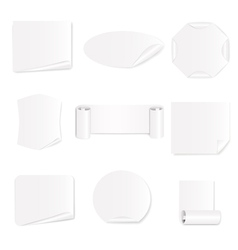 Set of 9 white paper stickers vector image vector image