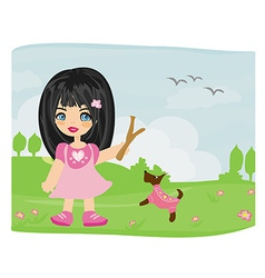 sweet girl and her dog vector image vector image
