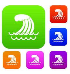 Tsunami wave set collection vector