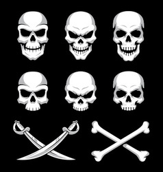 Two tone skull element variations set vector image vector image
