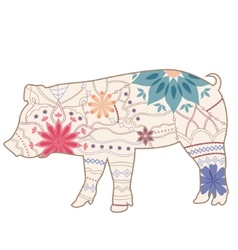 Vintage pig vector