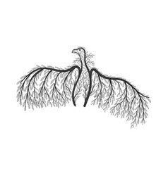 vulture stylized bushes vector image