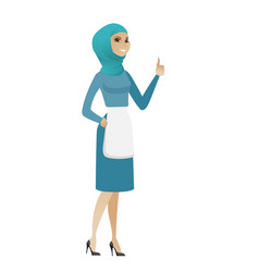 Young muslim cleaner giving thumb up vector
