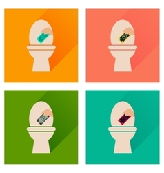 Concept of flat icons with long shadow toilet vector