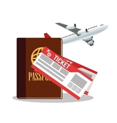 Passport airplane and tickets design vector