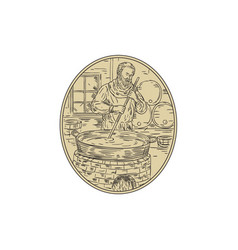Medieval monk brewing beer oval drawing vector