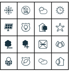 Set of 16 ecology icons includes snow fire vector
