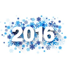 2016 paper sign over snowflakes vector