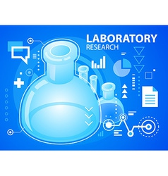 Bright laboratory research on blue backgroun vector