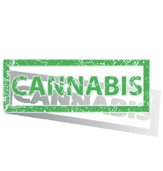 Green outlined cannabis stamp vector