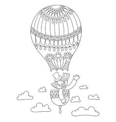 Line art of circus theme - clown in a vector