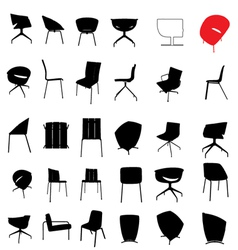 Modern furniture silhouette vector
