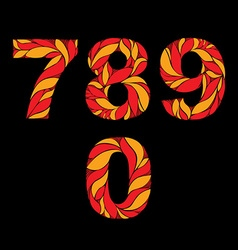 Ornamental bright figures red numbers decorated vector image