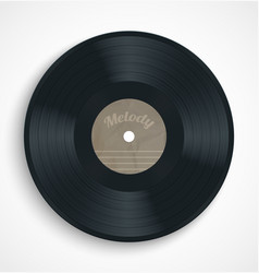 Black vinyl record album disc with blank brown vector