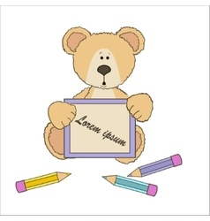 Teddy bear with pencils vector