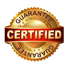Certified golden label with ribbon vector