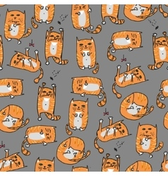Orange cute cats seamless background vector image