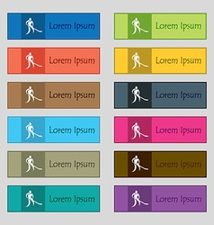 Winter sport hockey icon sign set of twelve vector