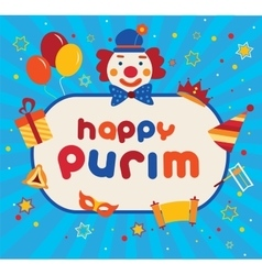Jewish holiday purim carnival flat icons and vector