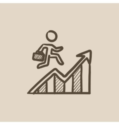 Financial recovery sketch icon vector