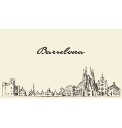 Barcelona spain vintage hand drawn sketch vector