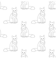 black and white seamless pattern with cat vector image