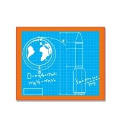 Blackboard with blueprint drawings cartoon vector