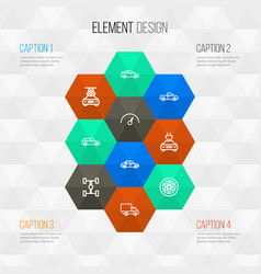 Car outline icons set collection of sedan vector