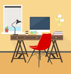 Creative workplace at office or home vector