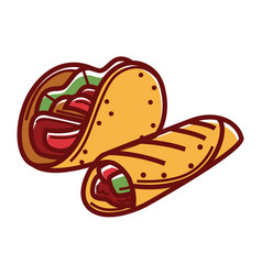 Crispy taco and buriito in pita bread isolated vector