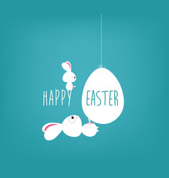 easter blue poster with handwritten text vector image vector image