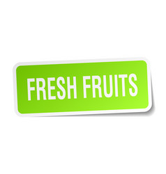Fresh fruits square sticker on white vector