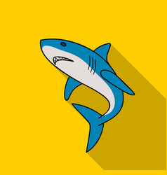 Great white shark icon in flate style isolated on vector