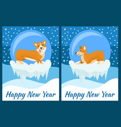 Happy new year greeting cards with cute corgi dog vector