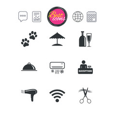 Hotel apartment services icons wifi sign vector