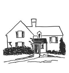 House in a village surrounded by trees hand drawn vector